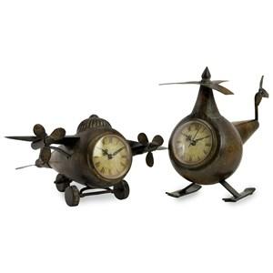 IMAX Worldwide Home Clocks Lindbergh Aviation Clocks - Set of 2
