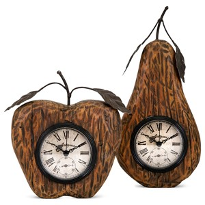 IMAX Worldwide Home Clocks Apple and Pear Desk Clocks - Set of 2