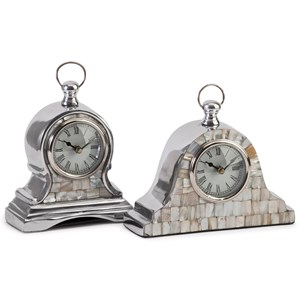 IMAX Worldwide Home Clocks Aluminum Mother of Pearl Clocks - Set of 2