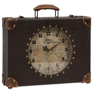 IMAX Worldwide Home Clocks World Map Suitcase Clock