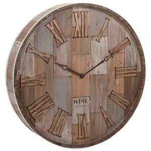 IMAX Worldwide Home Clocks Wine Barrel Wood Wall Clock