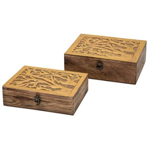 IMAX Worldwide Home Connie Post Concepts Eden Carved Wood Boxes - Set of 2