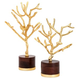 IMAX Worldwide Home Connie Post Concepts Eden Trees on Wood Base - Set of 2