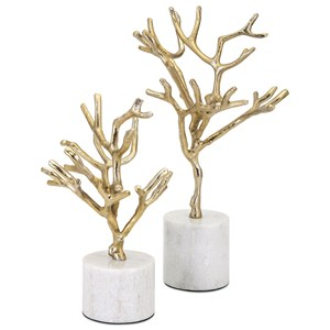 IMAX Worldwide Home Connie Post Concepts Eclipse Trees on Marble Base - Set of 2