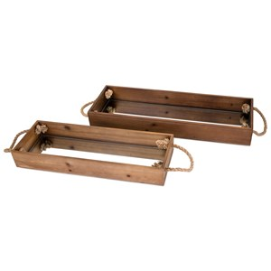 IMAX Worldwide Home Connie Post Concepts Eden Wood Decorative Trays - Set of 2