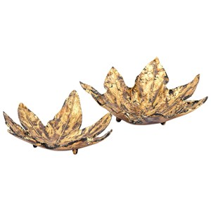 IMAX Worldwide Home Connie Post Concepts Eden Gold Leaf Decorative Trays - Set of 2