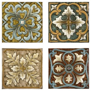 IMAX Worldwide Home Decorative Figurines Casa Medallion Tiles - Set of 4