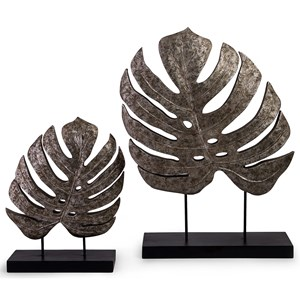 IMAX Worldwide Home Decorative Figurines Silver Antiqued Leaves - Set of 2
