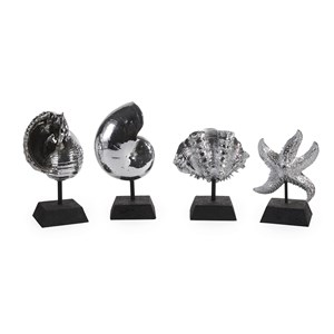 IMAX Worldwide Home Decorative Figurines Decorative Silver Shells - Set of 4