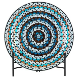 IMAX Worldwide Home Decorative Figurines Cordelia Glass Mosaic Decorative Charger wit