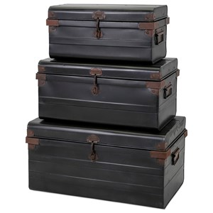 IMAX Worldwide Home Decorative Figurines Panit Metal Trunks - Set of 3