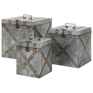IMAX Worldwide Home Decorative Figurines Parry Galvanized Trunks - Set of 3
