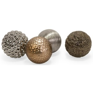 IMAX Worldwide Home Decorative Figurines Metallic Finished Orbs - Set of 4