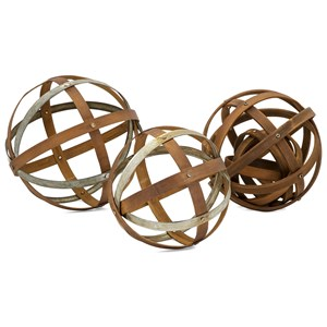 IMAX Worldwide Home Decorative Figurines Kaiden Wood and Metal Spheres - Set of 3
