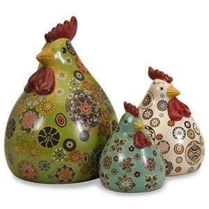 IMAX Worldwide Home Decorative Figurines Canvon Chickens - Set of 3