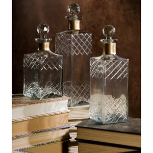 IMAX Worldwide Home Decorative Figurines Hampshire Etched Decanters - Set of 3
