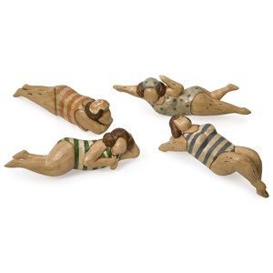 IMAX Worldwide Home Decorative Figurines Bathing Beauties in Natural Wood - Set of 4