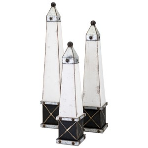 IMAX Worldwide Home Decorative Figurines Stout Wood Obelisks - Set of 3