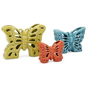 IMAX Worldwide Home Decorative Figurines Denna Ceramic Butterflies - Set of 3