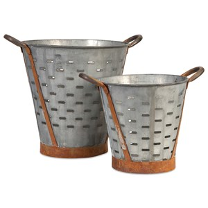 IMAX Worldwide Home Decorative Figurines Vintage Pierced Buckets - Set of 2