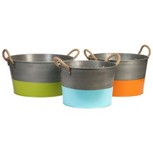 IMAX Worldwide Home Decorative Figurines Chelsey Round Tubs - Set of 3