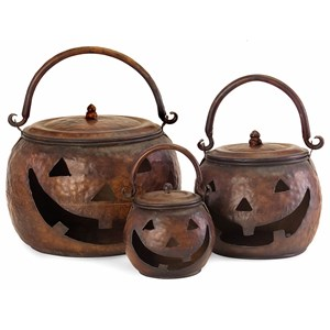 IMAX Worldwide Home Decorative Figurines Lidded Pumpkins - Set of 3