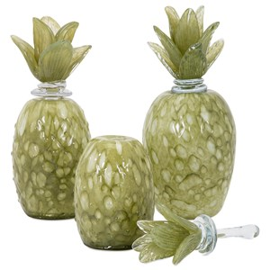 IMAX Worldwide Home Decorative Figurines Rolanda Glass Pineapples with Stoppers - Set