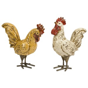 IMAX Worldwide Home Decorative Figurines Parson Roosters - Set of 2