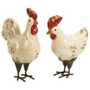 IMAX Worldwide Home Decorative Figurines Quinn Roosters - Set of 2