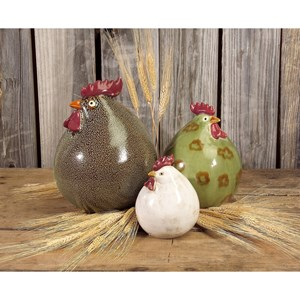 IMAX Worldwide Home Decorative Figurines Stylized Chickens - Set of 3