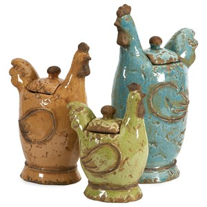 IMAX Worldwide Home Decorative Figurines Cherda Lidded Roosters - Set of 3
