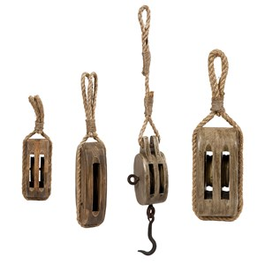 IMAX Worldwide Home Decorative Figurines Nautical Wooden Pulleys - Set of 4