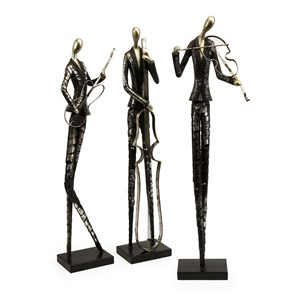 IMAX Worldwide Home Decorative Figurines Jazz Club Musician Statuaries - Set of 3