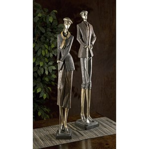 IMAX Worldwide Home Decorative Figurines Vintage Golfer Statuaries - Set of 2