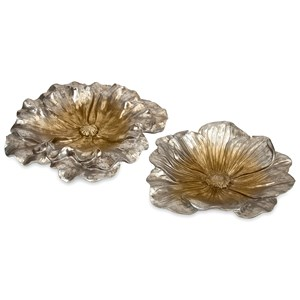 IMAX Worldwide Home Decorative Figurines Natalia Stick Silver Flowers - Set of 2