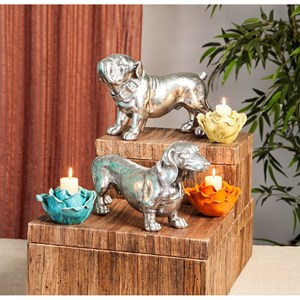 IMAX Worldwide Home Decorative Figurines Oscar Stick Silver Dog Statue
