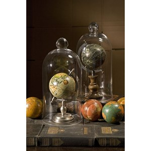 "IMAX Worldwide Home Decorative Figurines Antique Finish Globe 4"" Spheres - Set of 4"