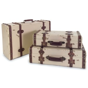IMAX Worldwide Home Decorative Figurines Antique Ivory Suitcases - Set of 3