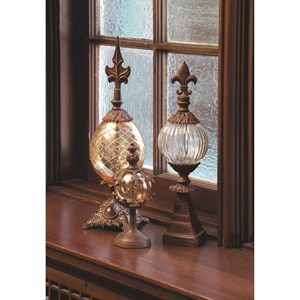 IMAX Worldwide Home Decorative Figurines Glass and Metal Finials - Set of 3