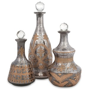 IMAX Worldwide Home Decorative Figurines Acadia Glass Decanters - Set of 3