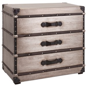 IMAX Worldwide Home Decorative Figurines Baker 3-Drawer Aluminum Clad Trunk