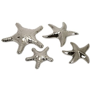 IMAX Worldwide Home Decorative Figurines Cortland Silver Starfish - Set of 4