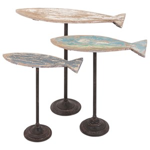IMAX Worldwide Home Decorative Figurines Zaney Fish on Stand - Set of 3