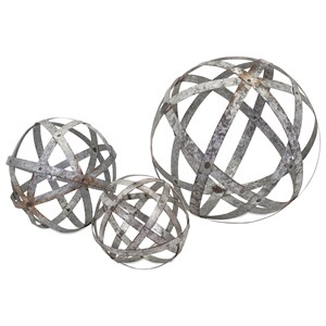 IMAX Worldwide Home Decorative Figurines Demi Galvanized Spheres - Set of 3