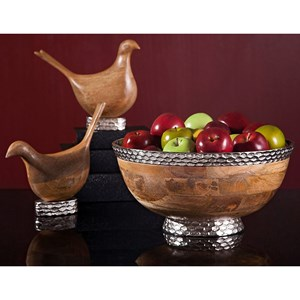 IMAX Worldwide Home Decorative Figurines Mango Wood Carved Birds - Set of 2