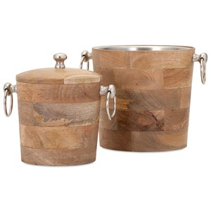 IMAX Worldwide Home Decorative Figurines Makana Wood Bar Buckets - Set of 2