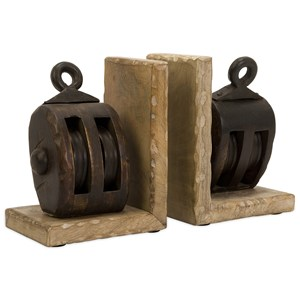 IMAX Worldwide Home Decorative Figurines Mason Wood Pulley Bookends