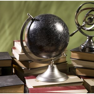IMAX Worldwide Home Decorative Figurines Moonlight Globe with Nickel Finish Stand