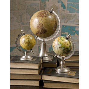 IMAX Worldwide Home Decorative Figurines Colombo Small Globe with Nickel Finish Base
