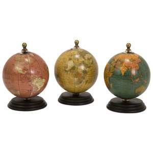 IMAX Worldwide Home Decorative Figurines Antique Finish Mini Globes on Wood Base - Se
